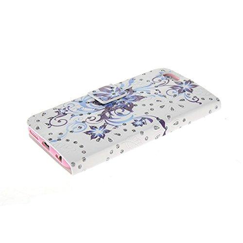MOONCASE Coque en Cuir Portefeuille Housse de Protection Étui à rabat Case pour Apple iPhone 6 Plus A17807