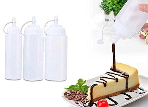 niceEshop(TM) Set Aus 3 Verschiedenen Größen Plastik Squeeze Flaschen mit Caps, 8 Unzen, 12 Unzen, 16 Unzen - Spender Spender für Haus & Restaurant Ketchup, Senf, Mayo, Dressings, Olivenöl, BBQ Sauce- BPA Frei (3-unzen-sprühflasche)
