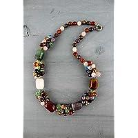 Collana in pietra dura varia (quarzo, agata striata, occhio di tigre, giada) lunghezza media 75 CM - Multicolore