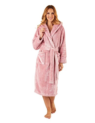 Slenderella HC8335 Women's Pink Robe Long Sleeve Dressing Gown Medium (Front Robe Wrap)