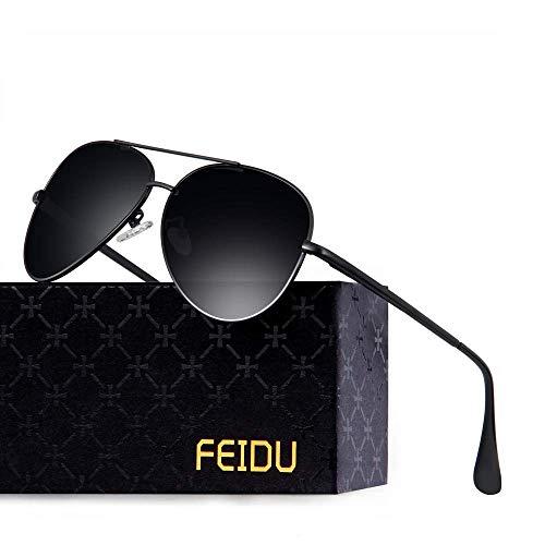 FEIDU Polarisierte Pilotenbrillen Männer Metallrahmen Frauen FD9009 (Schwarz/Schwarz)