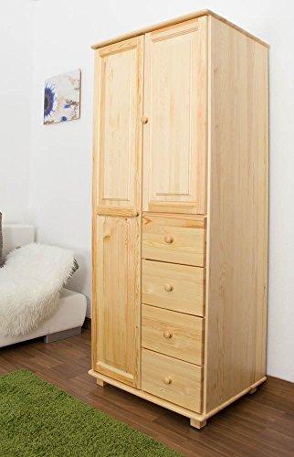 Landhaus-Stil Kiefer-Kleiderschrank, Farbe: Natur 190x90x60 cm