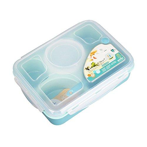 Groß Gummi-lagerung-container (Lunch Box Mittagessen Bento Box Mikrowelle und Spülmaschinenfest Lunchbox,5 in 1 Getrennte Lebensmittel Lagerung Container Auslaufsicher BPA Free Lunchpaket mit Suppe Schüssel)