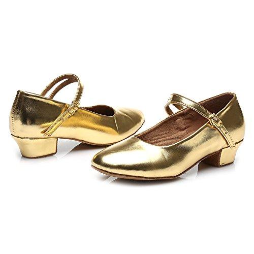HROYL Mädchen Tanzschuhe/Latin Dance Schuhe Satin Ballsaal Modell-DS-207 Gold