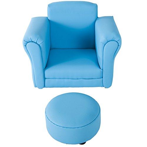 Club Chair PU Leather Look Covers Foam Sofa Kids Sofa Chairs With Stool (BLUE)