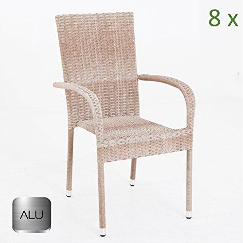 8x sedia da giardino sandbraun impilabile con struttura in alluminio polyrattan sedia impilabile marrone bistro sedia da giardino in rattan set