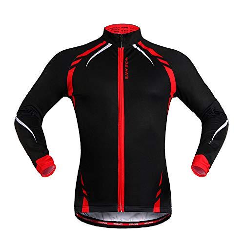 Lgwj Fahrrad Fahren Fleece Langarm-Shirt, Herbst und Winter Mountain Road Bike warme Fahrradbekleidung Fahrrad Langarm-Jacke Unisex,Black red-L -