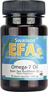 Swanson EFAs Omega 7 Oil from Sea Buckthorn Oil (450mg, 30 Liquid Capsules)