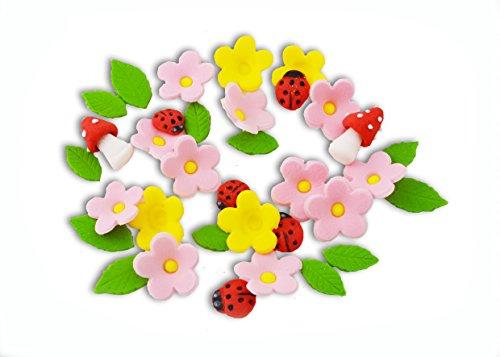 Zucker Pastell Farbe Blumen Marienkäfer Pilze Blätter hochwertige essbare Kuchen Dekorationen Hochzeit Geburtstag (Essbare Kuchen-blätter)
