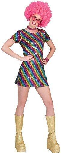 Jahre 80s Jahre Rainbow Paillette Disco Diva Kleid Seele Schleppe Fieber Pride Karneval Mardi-Gras Kostüm Kleid Outfit 10-14 (Disco Divas Kostüme)