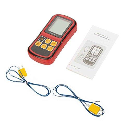 busirde Digitalthermometer Zweikanalige Temperaturmessinstrument-Prüfvorrichtung für K/J/T/E/R/S/N Thermoelement mit LCD-Hintergrundbeleuchtung -