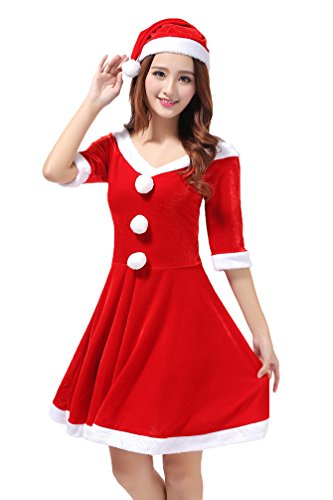 YOUJIA-Femme-Nol-Mre-Dguisement-Christmas-Costume-Adulte-Robe-Halloween-Carnaval-Performance-VtementsChapeau