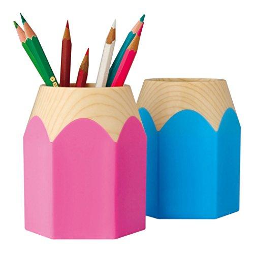 Creativo portamatite testa di matita stile di design portamatite da scrivania portapenne per gli studenti (rosa)