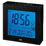 CTC FU 7025 Funkuhr mit großem beleuchtetem LCD-Display,funkgesteuerte Uhrzeiteinstellung, Alarmfunktion schwarz