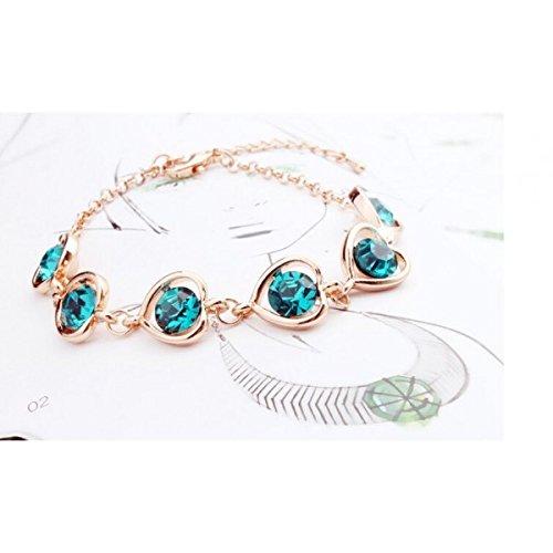 Bracelet suite de coeurs cristaux swarovski elements plaqué or rose Vert