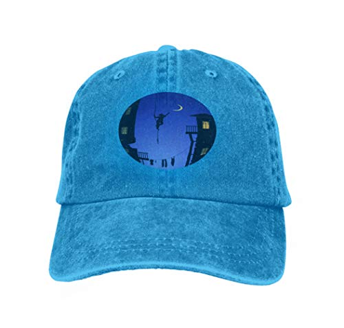 Unisex Baseball Cap Trucker Hat Adult Cowboy Hat Hip Hop Snapback Boy Hanging Rope Touching Moon Catch Dream City Stars Blue