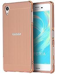 """Coque Xperia X, Etui en premium Aluminium métal miroir, Btduck Luxe Housse 2 en 1(Luxe Stucture en métal Bumper + PC Plastique Arrière Etui)[Étui en Métal Miroir] Anti Choc de Protection Semi-Transparente Coque 2 in 1 Electro Placage Texture Hard Coque Pour Sony Xperia X(5.0"""") + 1X Noir Stylet Touchscreen Pen - Or Rose"""