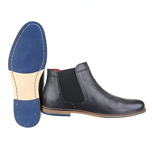Ital-Design Stiefeletten Herren Leder Schuhe Chelsea Boots Blockabsatz Chelsea Boots Dunkelgrau