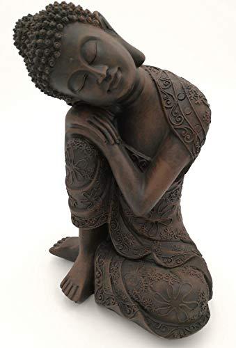 Unbekannt figura de Buda meditando, durmiendo 18cm en marrón, artículos de decoración para casa & hogar, de Buda escultura, Salón o accesorio ideal como regalo