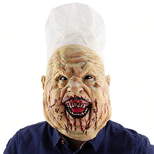 LJYASD Halloween Neuheit Maske Latex Koch Kopf Gesichtsmasken Schrecklich Zombie Grimasse Kostüm-Party (Zombie Koch Kostüm)