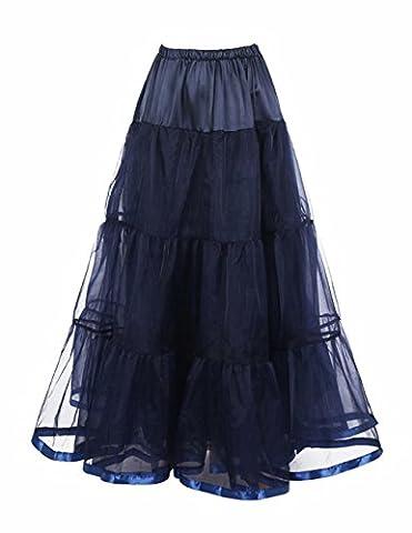 Honeystore Damen's Hochzeit Unterkleid Lang Ballet Petticoat Tutu Rock Marine Small (Einfache Selbst Gemachte Kostüme Für Halloween)