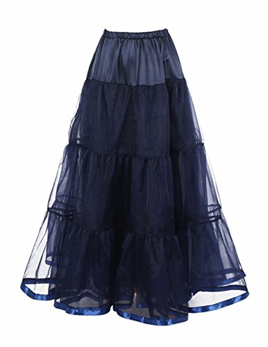 Honeystore Damen's Hochzeit Unterkleid Lang Ballet Petticoat Tutu Rock Marine Small
