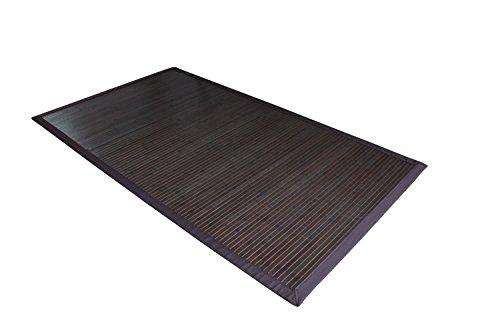 Moderner dunkler Bambusteppich COFFEE mit breiter Bordüre I Bettumrandung Läufer Schlafzimmer Küchenvorleger Flurteppich I Nachhaltiger Naturfaser Teppich von DE-COmmerce I 70 x 140 cm (Sisal-teppich, Fliesen)