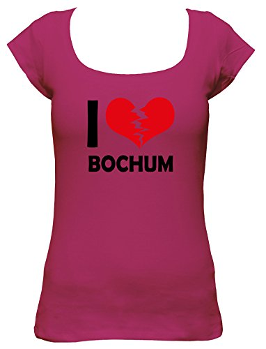 I don\'t love Bochum Fun Damen Boat Neck T-Shirt, Größe:XL;Farbe:pink