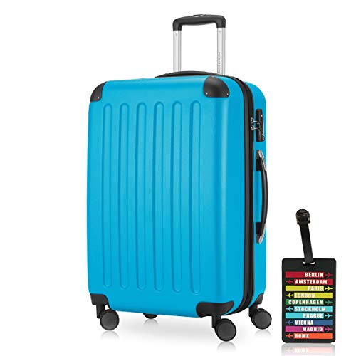 Hauptstadtkoffer - Spree Hartschalen-Koffer Koffer Trolley Rollkoffer Reisekoffer Erweiterbar, 4 Rollen, TSA, 65 cm, 74 Liter, Cyan Blau inkl. Design Kofferanhänger