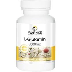 L-Glutamina 3000mg – Productos para la salud Warnke – 120 cápsulas – 105 g – Artículo vegano