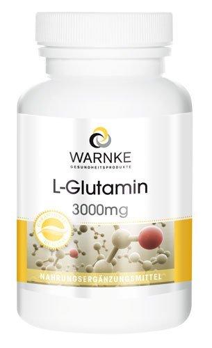 L - glutammina 3000mg - 120 capsule - forma libera - sostiene l'accumulo dei muscoli, garantisce un buon sonno e protegge le cellule