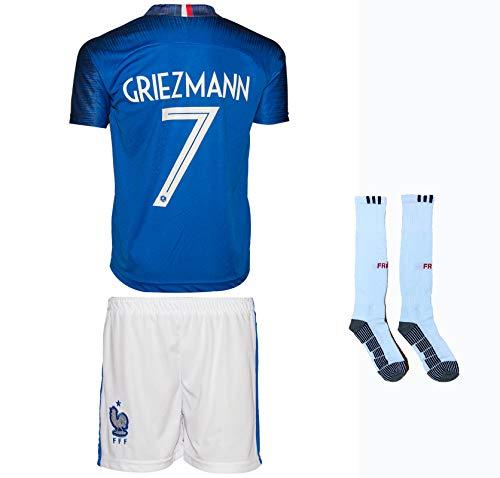 Frankreich Griezmann #7 2018 Heim Trikot und Shorts mit Socken Kinder und Jugend Größe