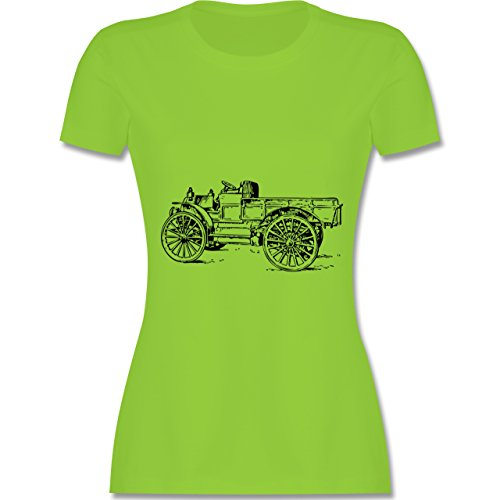 Landwirt - Traktor alt Planwagen - tailliertes Premium T-Shirt mit Rundhalsausschnitt für Damen Hellgrün