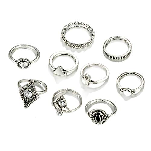 amond Triangle Black Pebbles Pointed Leaves Nine Sets of Metal Ring Dekorative Schmuck-Set Ring Plating Simple Fashion Ideen ()