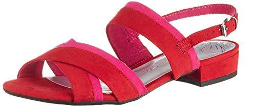 MARCO TOZZI 2-2-28107-22, Sandali con Cinturino alla Caviglia Donna, Rosso (Red Comb 597), 37 EU