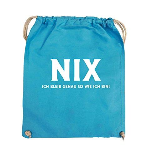 Comedy Bags - NIX ICH BLEIB GENAU SO - Turnbeutel - 37x46cm - Farbe: Schwarz / Pink Hellblau / Weiss