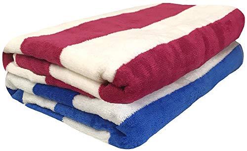 Cotton Towel Strandtuch, 100% Baumwolle, Plüsch, Cabana-Streifen, Velours, 30 x 60 cm, 2 Stück -