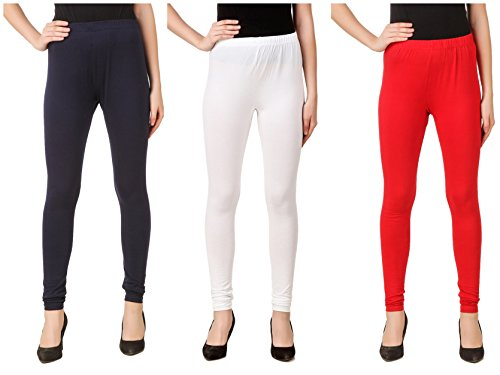 Svadhaa White Navy Blue Red Cotton Lycra Leggings(Pack Of 3)