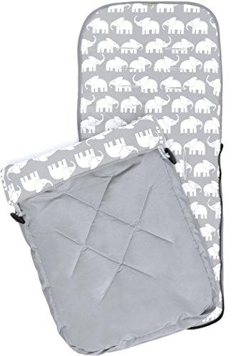 Priebes Universalfußsack Ben | Sommer-Fusssack für Kinderwagen, Buggy | Länge 90 cm | Fußteil abnehmbar als Wickeldecke verwendbar | atmungsaktiv & wasserabweisend & windabweisend, Design:grau elefanten grau