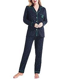 39ab6fa034 NORA TWIPS Schlafanzug für Damen, Pyjama für Damen, Damen Schlafanzug Pyjama,  Zweiteiliger Nachtwäsche Set Langarm V-Ausschnitt…
