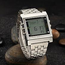 Fenkoo Hombre Reloj de Pulsera Digital LED / Mando a Distancia / Calendario / alarma / Cronómetro Acero Inoxidable Banda Plata Marca