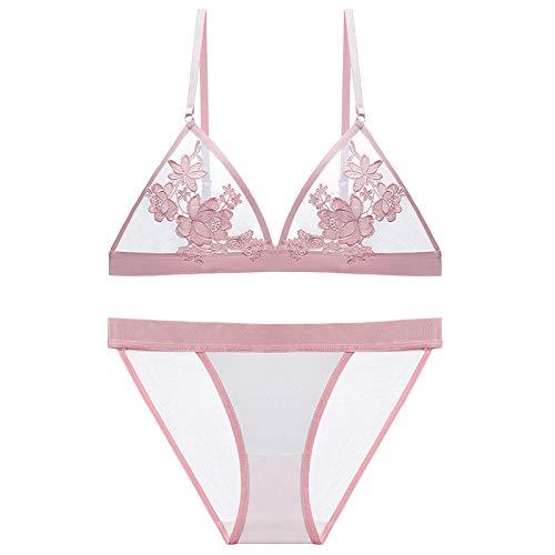 YUNHANGNEIYI Neue BH Set Mode Blumen Stickerei Dessous Transparente BHS Frauen Unterwäsche Plus Größe S-XXL Durchsichtig BH,Pink,M (Transparent-bhs Für Frauen)