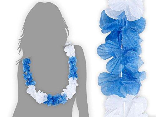 Alsino 48 Stk. Hawaiiketten Ketten Blumenketten blau weiß 21