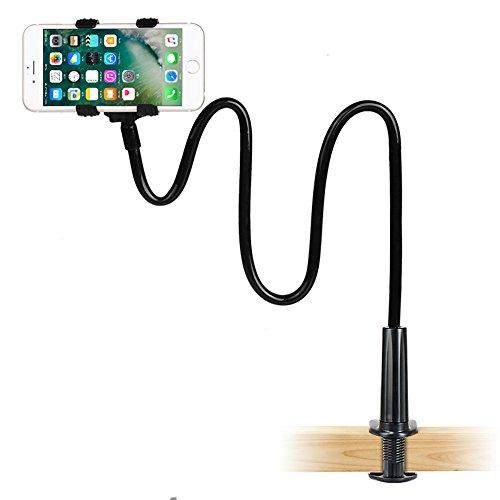 Handyhalter, LONZOTH handy halterung Schwanenhals Halter Universal Ständer für iPhone Smartphone Handy Tablet 360° Drehen (Schwarz)