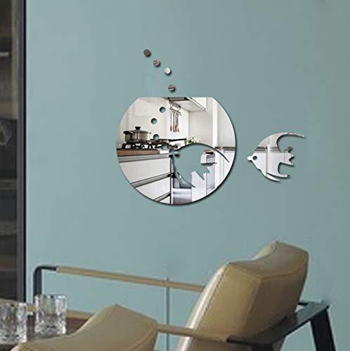 Vandelkt Acryl Tropischer Fisch Wanddekoration Aufkleber Dicker Kunststoff Spiegeleffekt Aufkleber Für Schlafzimmer 3D Spiegel Wandaufkleber Ausgangsdekor (Kunststoff Fische Tropische)