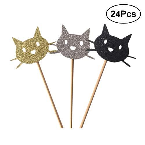 Katze Cupcake Toppers Halloween Kuchen Picks Cocktail-Sticks Essen Zahnstocher Halloween Party Kuchen Dekorationen ()