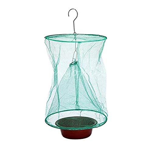Waroomss Fliegenfallen, umweltfreundlicher faltbarer wiederverwendbarer Insektenfänger-Insektenfänger-Netz-Fänger-Mörder-Käfig mit Köder-Speicher-Topf für Gartenarbeit-Hängen im Freien -