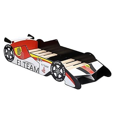 LANGRIA Cama Temática Infantil Coche de Carreras de Fórmula 1 con Alerón y Láminas de Somier Incluidas, Capacidad Máxima 50kg (Rojo, Blanco, Negro)