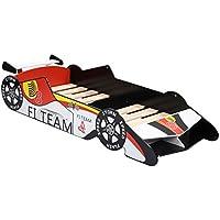 LANGRIA 3D Letto-Auto da corsa in Stile Laccato Lucido Racing Car Lettino Lettino per Bambina per Le Camere di Bambino (Rosso, Bianco, Nero)