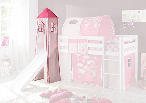 Jugendmöbel24.de Turmgestell + Turm-Vorhang Pink Rosa Prinzessin 100{43ae2b85cae35877bcbf5687727baa4e9c63940dd9b23e3b0b39fa30489ef325} Baumwolle für Hochbett Spielbett Stockbett Kinderbett Kinderzimmer Spielturm